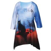 Women's Halloween Tunic Top - Black Cat Print Long Shirt - Sharkbite Hem