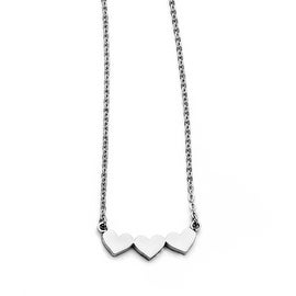Chisel Stainless Steel Triple Heart Necklace (1 mm) - 18 in