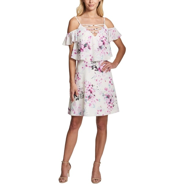 Kensie Womens Casual Dress Cold Shoulder Floral Print