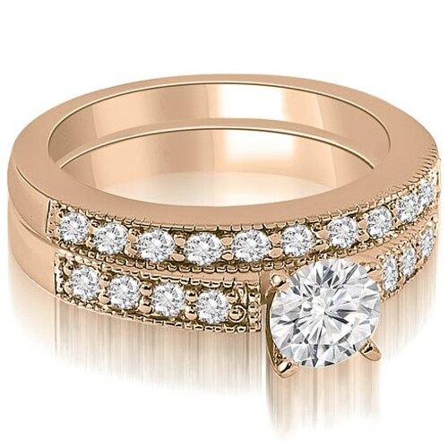 1.33 cttw. 14K Rose Gold Antique Milgrain Round Cut Diamond Bridal Set