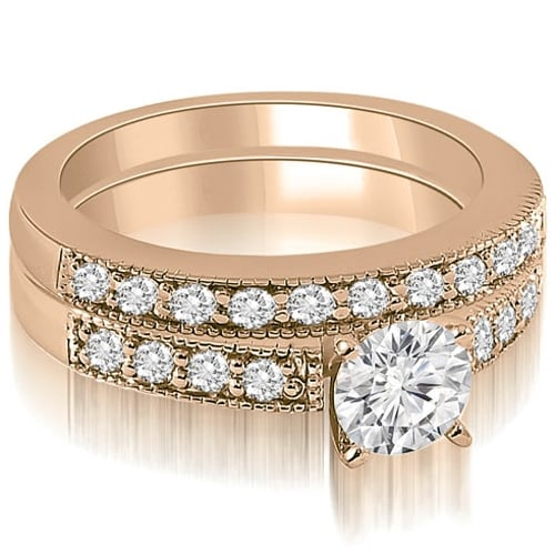 1.58 cttw. 14K Rose Gold Antique Milgrain Round Cut Diamond Bridal Set