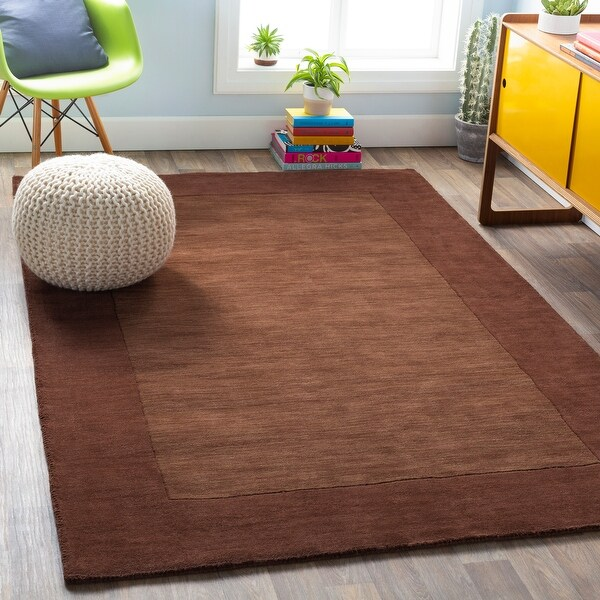 Hand Loomed Bergn Solid Bordered Tone-On-Tone Wool Area Rug