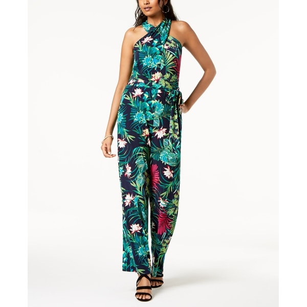b31c7417e5c Shop Tahari ASL Green Womens Size 8 Floral Printed Halter Jumpsuit - Free  Shipping Today - Overstock.com - 27369039