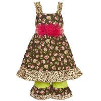 Little Girls Brown Rose Leopard Print Flower Adorned 2 Pc Pant Outfit