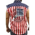 Men's Biker USA Flag Sleeveless Denim Shirt My Gun Permit 2nd Amendment Pride - Thumbnail 0
