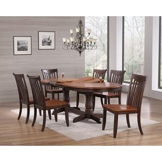 "Iconic Furniture Company 42""x66""x78""x90"" Oval Whiskey Mocha  Modern Slatback 7-Piece Dining Set"