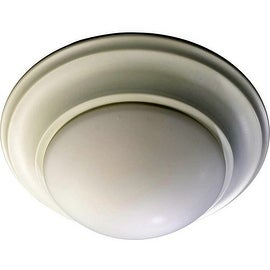 Quorum International 3507-11 1 Light Outdoor Flushmount Ceiling Fixture with Satin Opal Frosted Glass Shade - Studio White