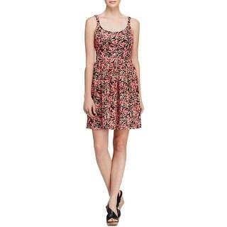 Aqua Womens Juniors Casual Dress Sleeveless Floral Print