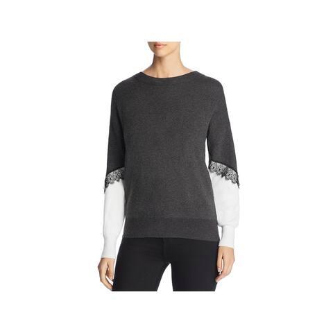 Vero Moda Womens Sweater Colorblock Lace Trim - Dark Grey - XL