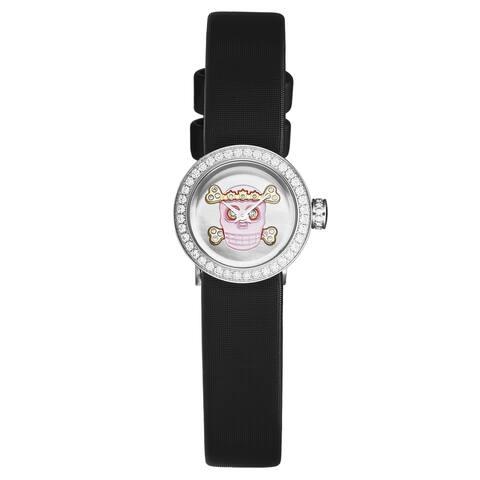 Christian dior women's cd040110a030 'la d de dior mini' pink skull dial diamond bezel black satin strap swiss quartz watch