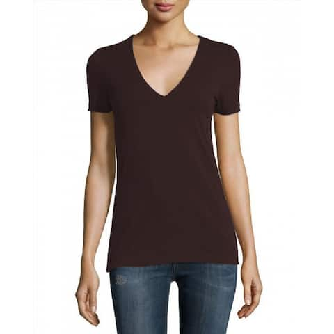 James Perse Chocolate V Neck Short Sleeve T Shirt
