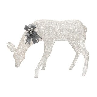 57 White Lighted Feeding Doe  Clear Lights - silver