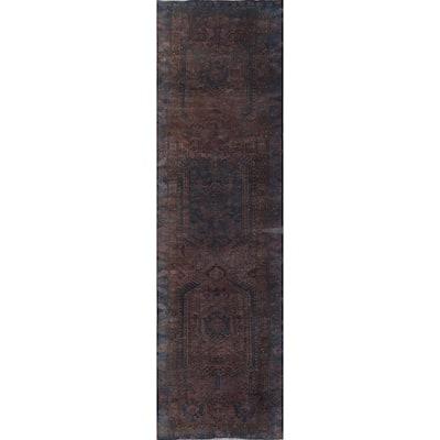 "Clearance Distressed Over-dye Heriz Persian Wool Runner Rug Handmade - 2'11"" x 11'0"""