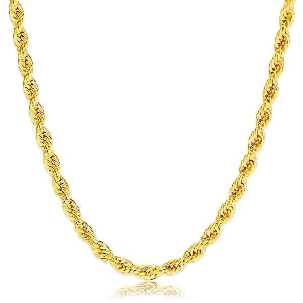4MM Diamond-Cut Rope Chain Necklace in 14K Hollow Solid Gold BOXED. Opens flyout.