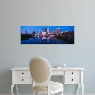 Easy Art Prints Panoramic Image 'Scioto River and Columbus Ohio skyline, the capital city, at dusk' Canvas Art
