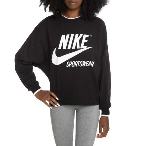 Nike Women's Archive Heritage Crew Logo Sweatshirt Black White Medium