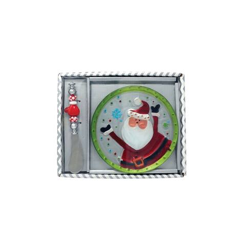 """6"""" Red and Green Santa Claus Platter and Knife Hostess Set"""