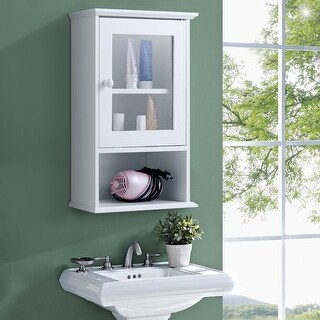 Gymax Wall Mounted Bathroom Cabinet Storage Organize Hanging Medicine Adjustable Shelf