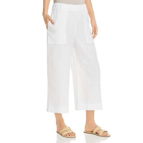 Three Dots Womens Wide Leg Pants Linen Cropped