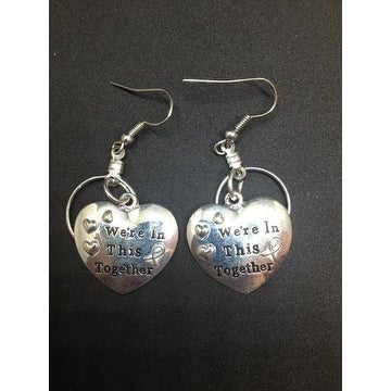 We're In This Together Small Hooped Earrings for Autism - Silver