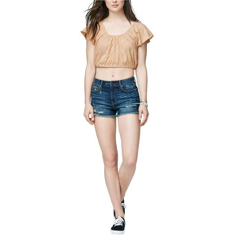 Aeropostale Womens Embroidered Crop Basic T-Shirt
