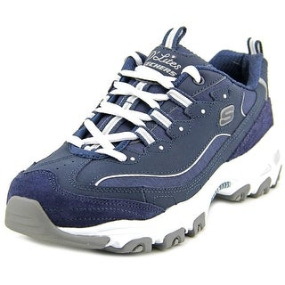 Skechers D'Lites-Me Time Women Round Toe Leather Blue Sneakers