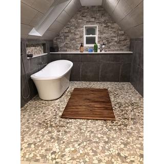 Bare Decor Oskar String Spa Shower Mat/Rug in Solid Teak Wood Oiled Finish