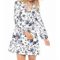 7bf972cd10 Shop DKNY White Blue Womens Size 8 Floral Print Trapeze Shift Dress ...