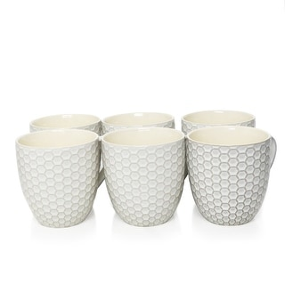 Link to Elama Honeycomb 6 Piece 15 Ounce Mug Set in White Similar Items in Dinnerware