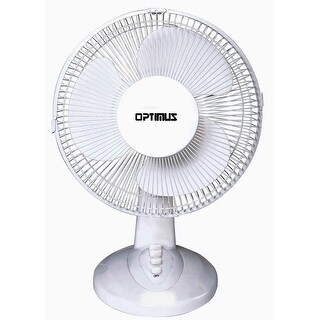 "Optimus F1230 White 12"" Oscillating 3 Speed Table Fan"