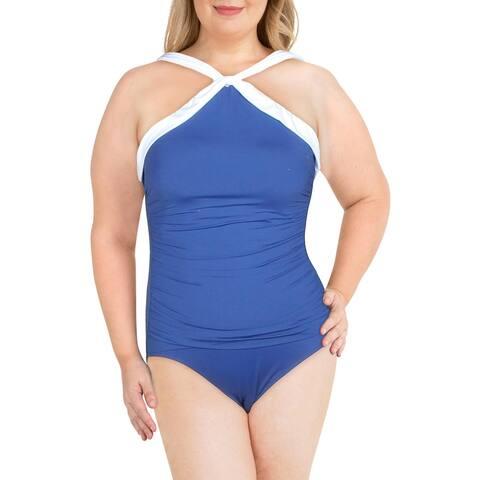 Lauren Ralph Lauren Womens Slimming Contrast Trim One-Piece Swimsuit - Indigo - 14