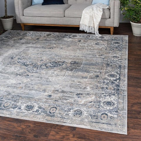 Porch & Den Reeves Distressed Floral Medallion Area Rug
