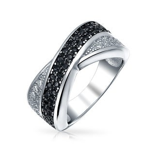 Two Tone Black And White Pave Cubic Zirconia CZ Criss-Cross X Band Ring For Women For Girlfriend 925 Sterling Silver