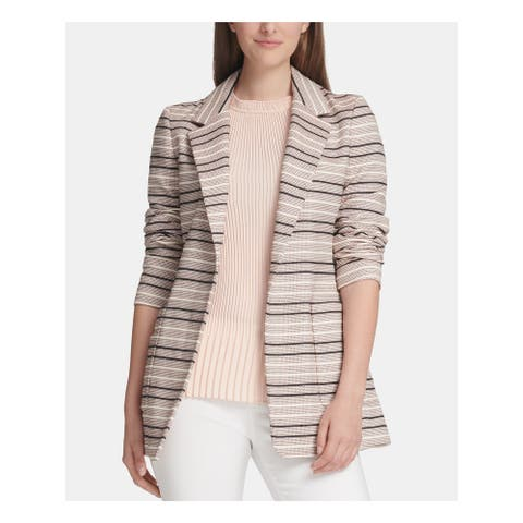 DKNY Womens Beige Striped Wear To Work Jacket Size 0