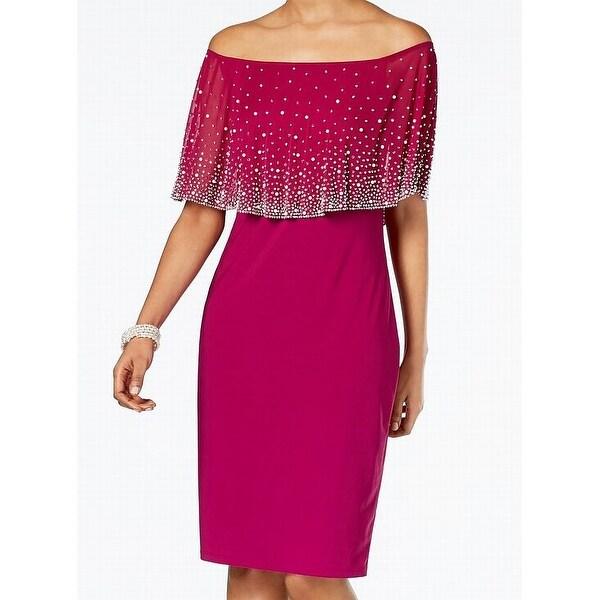 MSK Womens Medium Embellished Off Shoulder Sheath Dress