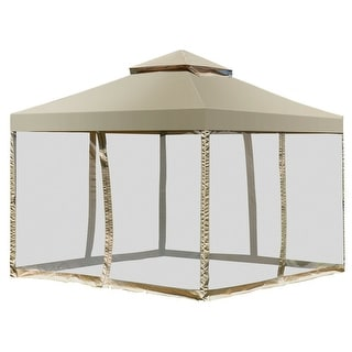 Costway Outdoor 2 Tier 10 X10 Gazebo Canopy Shelter Awning Tent Patio Garden Screw Free Structure Brown