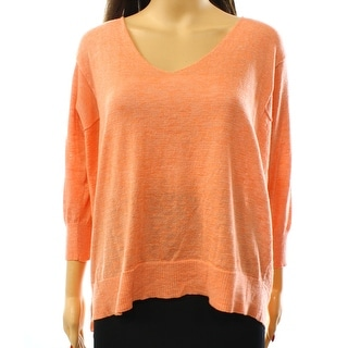 Cotton Emporium NEW Orange Women's Size Large L V-Neck Slit Sweater