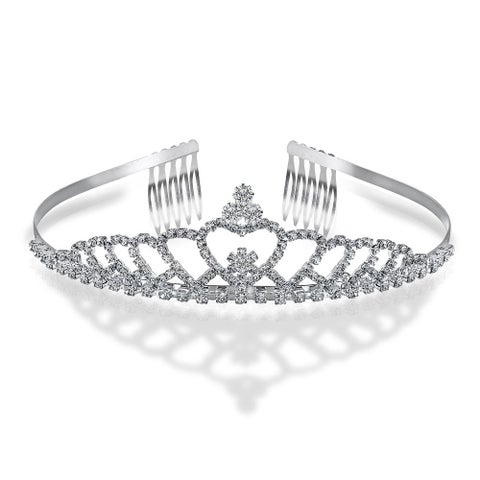 Bling Jewelry Heart Rhinestone Crystal Bridal Crown Tiara Silver Plated