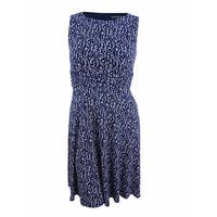 Jessica Howard Women's Petite Ruched-Waist Floral Dress - Navy