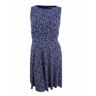 Jessica Howard Women's Petite Ruched-Waist Floral Dress - Navy