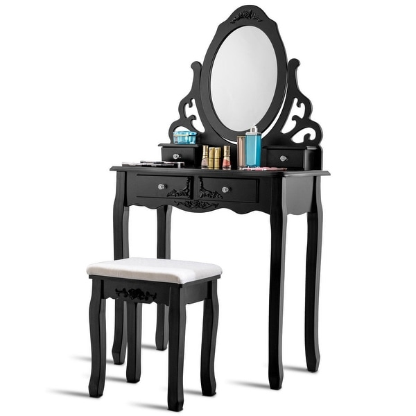 Shop Gymax Vanity Makeup Dressing Table Stool Set W