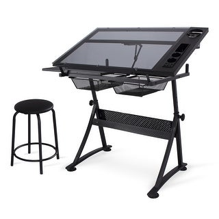BELLEZE Height Adjustable Drafting Drawing Glass Tabletop w/ 2 Storage Drawers and Stool, Black