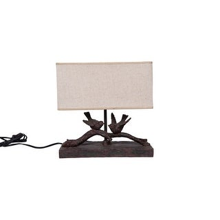 Link to Rustic Birds-On-Branch Lamp with Rectangle Shade Similar Items in Table Lamps