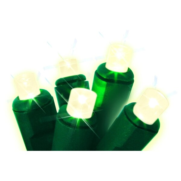 Set of 50 Warm White Always Lite Commercial Grade Wide Angle Twinkle Christmas Lights - Green Wire