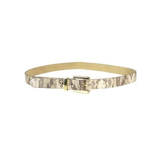 Style & Co. Women's Metallic Snake Print Leather Belt - Gold