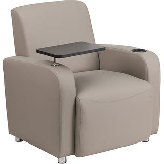 Radisson Gray Leather Reception/Guest Chair w/Tablet Arm, Chrome Feet