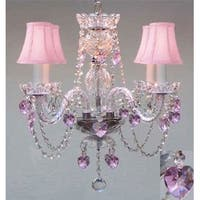 Chandelier Lighting With Crystal Pink Shades Hearts Perfect For Kid S Rooms