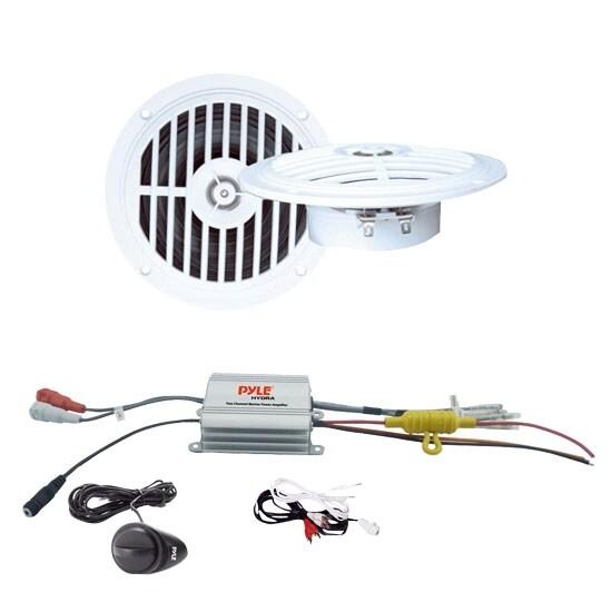 2 Channel Waterproof MP3/ Ipod Marine Power Amplifier + 5 ¼'' Dual Cone Waterproof Stereo Speaker System