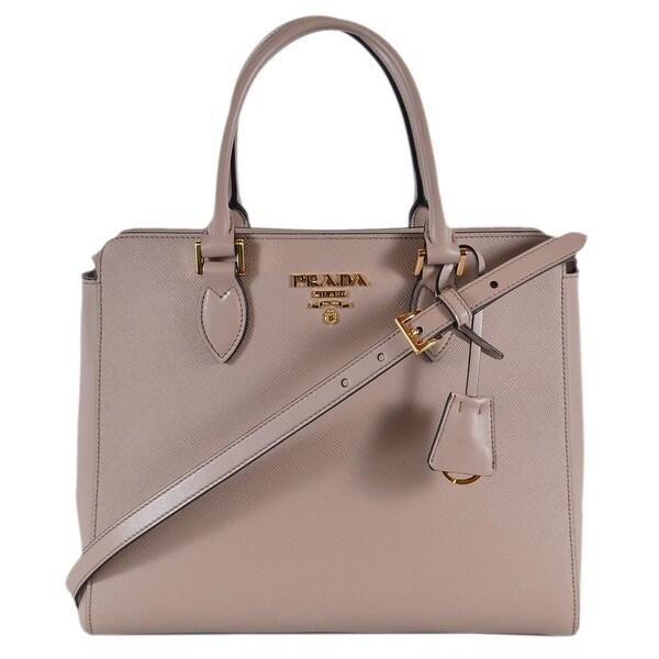 c5eceeedfdf0 Prada 1BA189 Borsa A Mano Cipria Pink Saffiano Leather 2-Way Purse Tote Bag