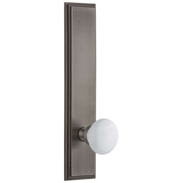 Grandeur CARHYD_TP_PRV_238_RH Carre Solid Brass Tall Plate Rose Right Handed Privacy Door Knob Set with Hyde Park Knob and